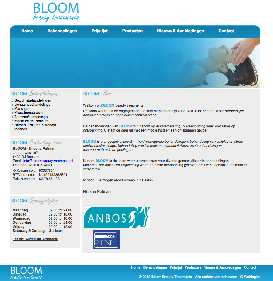Website Bloom Beauty Treatments